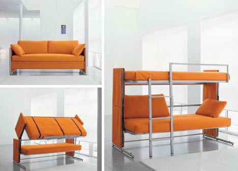 Sofa Design is simple orange in a flash can be changed into a Bunk Bed