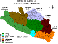 mapa de las regiones de Guerrero
