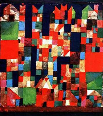 Imatge de ciutat amb detalls en verd i vermell (Paul Klee)