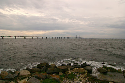 Oresund Bridge between Copenhagen in Denmark and Malmo in Sweden