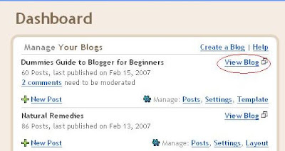 View blog from Dashboard