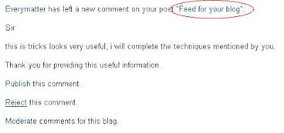 Blogger comment moderation via email
