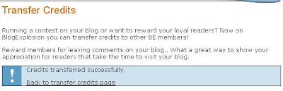 BlogExplosion credit transfer successful