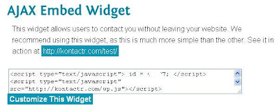 Kontactr Ajax Embed Code for contact form