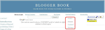 Blogger static pages tabs in sidebar