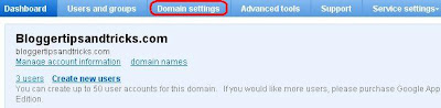 Google Apps Domain Setting tab highlighted
