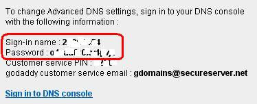 username and password for Advanced DNS Settings