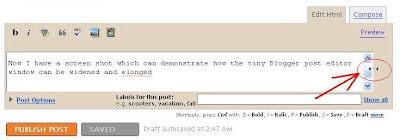mouse cursor changed to double headed arrow which you can pull to widen the Blogger post editor window