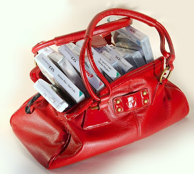 overflowing with games handbag
