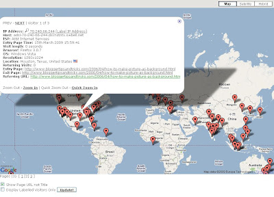 Statcounter visitor map and details of visitor