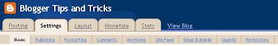 screen shot of Blogger SETTINGS