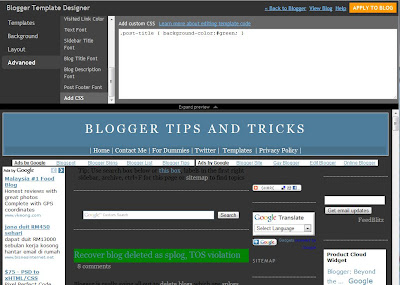 Blogger template designer Advanced option Add CSS