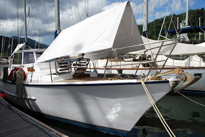 Yacht bow with awnings