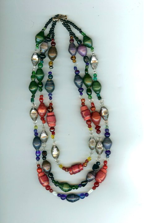 Embossed paper bead necklace