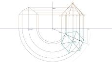 Secção produzida por um plano vertical numa pirâmide hexagonal regular