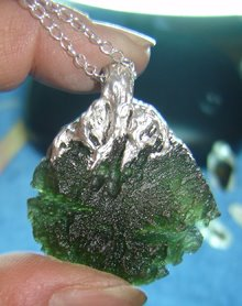 PMC Silver Painted onto Moldavite