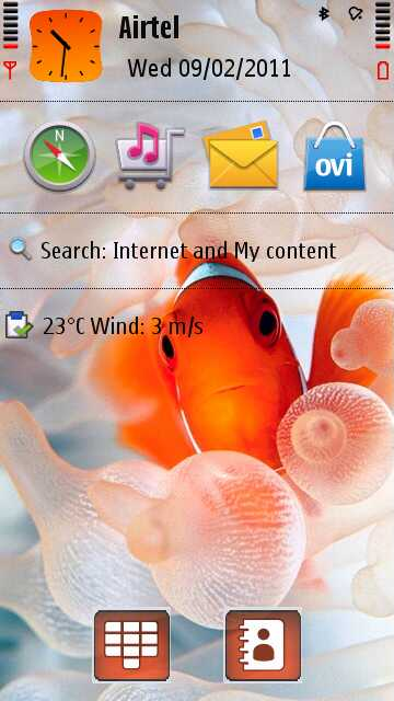 Beautiful fish on the home screen looks very fresh. Fish theme is ...