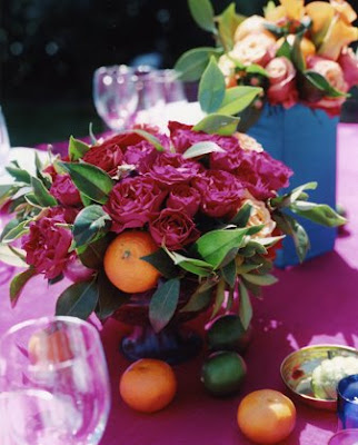 Loving the pink orange from this Mexican Indian themed wedding