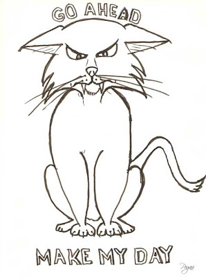 Angry cat cartoon, basic sketch, funny cat design