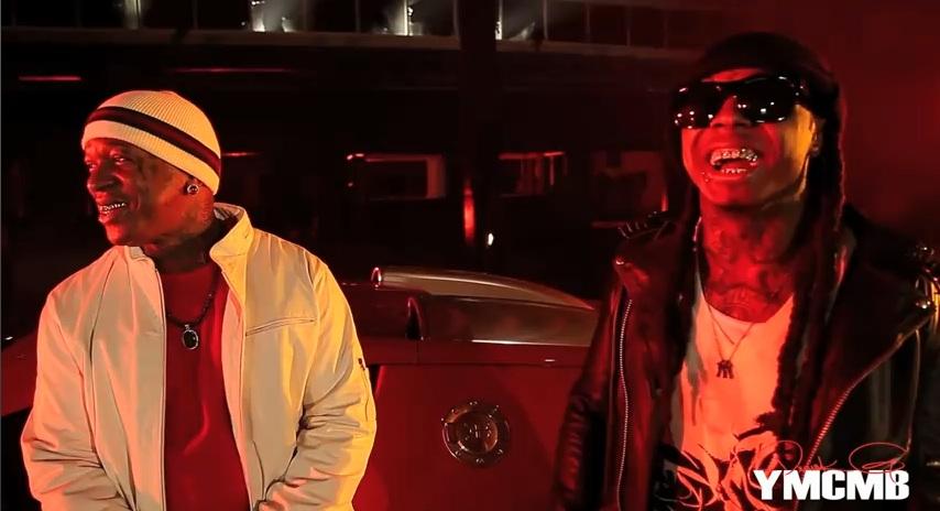 Foto do Lil Wayne & Birdman na gravação do clipe Fire Flame Remix