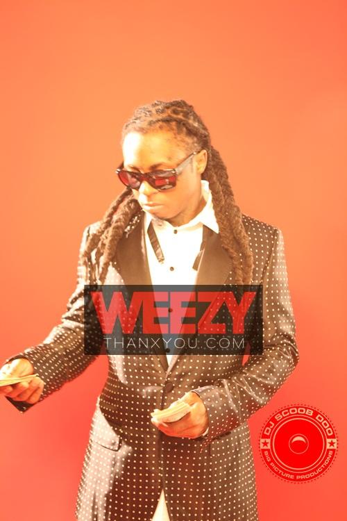 Foto do Lil Wayne na gravação do vídeo clipe 6 Foot, 7 Foot