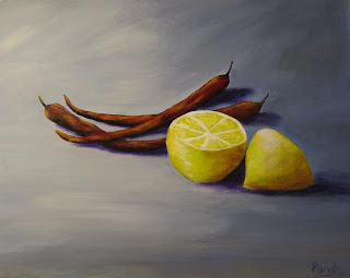 contemporary still lifepainting of chilli peppers and lemon done in acrylic by atul pande