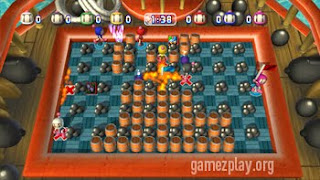 bomberman pirate level with barrels and cannon balls on checkerboard grid