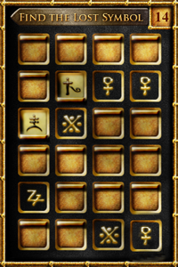 Dan Brown's Lost Symbol memory game screenshot of symbol screen