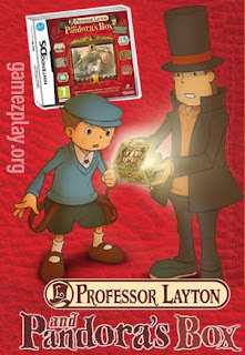 prof Layton and assistant look into gold box with glow coming out