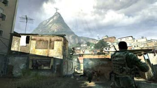 COD modern warfare screen showing rio statue on hill with soldiers in village at base