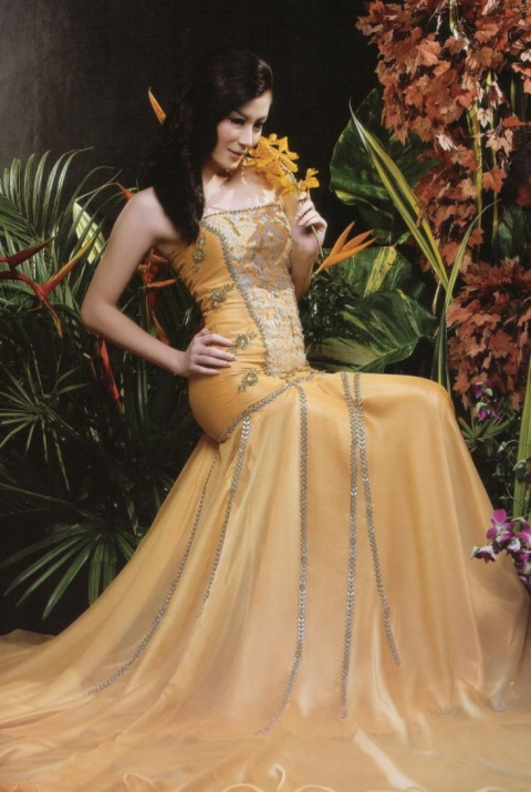 Sexy Myanmar Model Wut Hmone Shwe Yee Yellow Dress