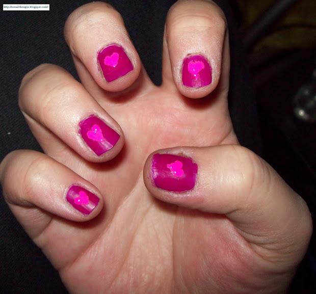 ez nail design pink heart