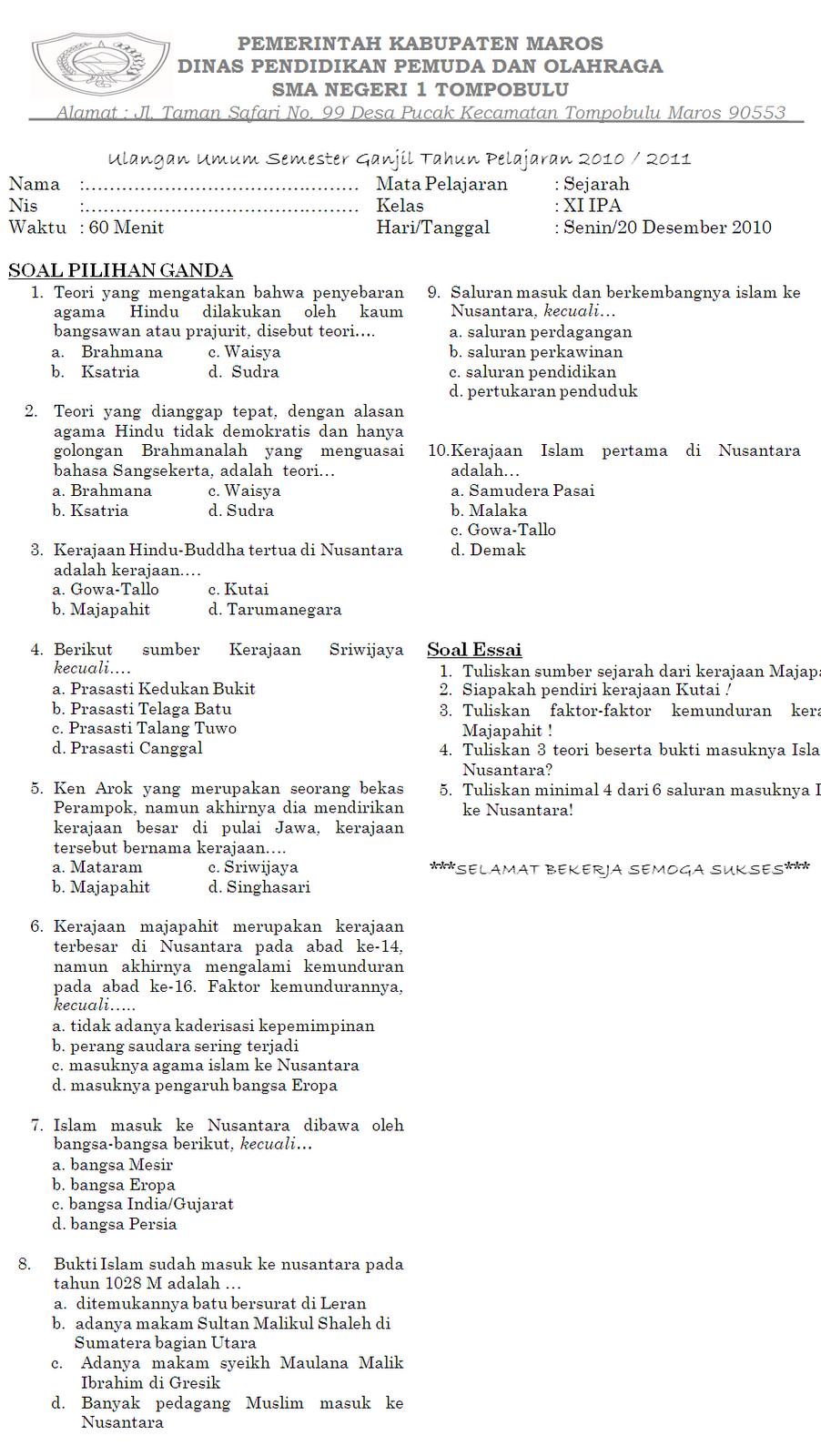 Soal Sejarah Semester Ganjil Kelas Xi Ipa 2010 2011 Kata Ilmu