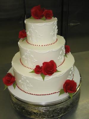 Red Roses Wedding Cake - Wedding Cake Flavors