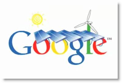 Das Google Logo mit Solarpanels
