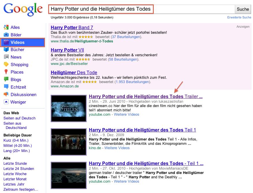 Beispielergebnis Google Suche nach Film