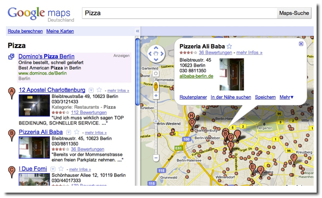 Beispielergebnis fuer Pizzerias in Google Places