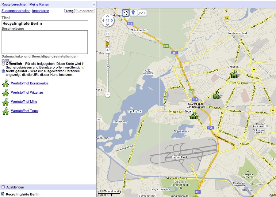 Beispiel My Maps Wertstoffhof