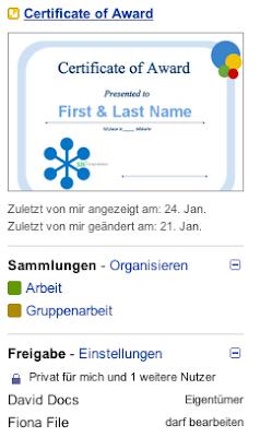Google Text und Tabellen Vorschaufenster