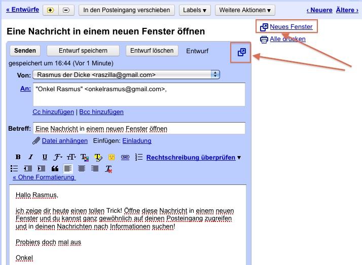 Screenshot Nachricht in Google Mail in neuem Fenster öffnen