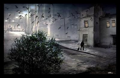 ilustração mostra uma cidade deserta à noite, com morcegos voando em bando e um vulto na esquina, com seu cachorro
