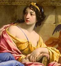 detalhe do quadro Urânia e Calliope, de Simon Vouet. Óleo sobre tela.
