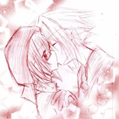 Desenho de homem e mulher se beijam, Oye el Boom, de Lavender Ice