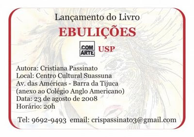 convite de lançamento do livro Ebulições, de Cristiana Passinato