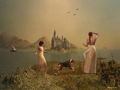 Imagem mostra mulher olhando para o mar, à espera de seu marujo, com uma irmã mais nova e cachorro a lhe fazer companhia