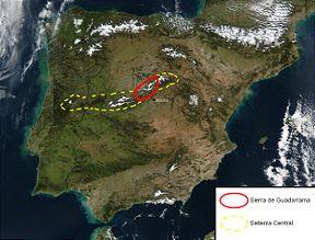 imagen por satélite de la sierra de Guadarrama