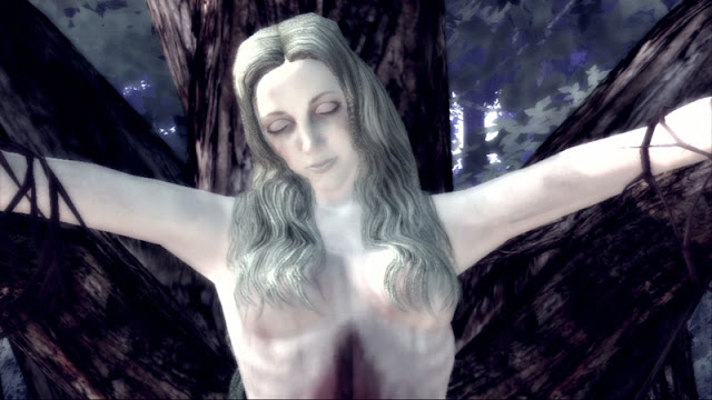 Deadly Premonition's Anna, strung up on a tree by the Raincoat Killer