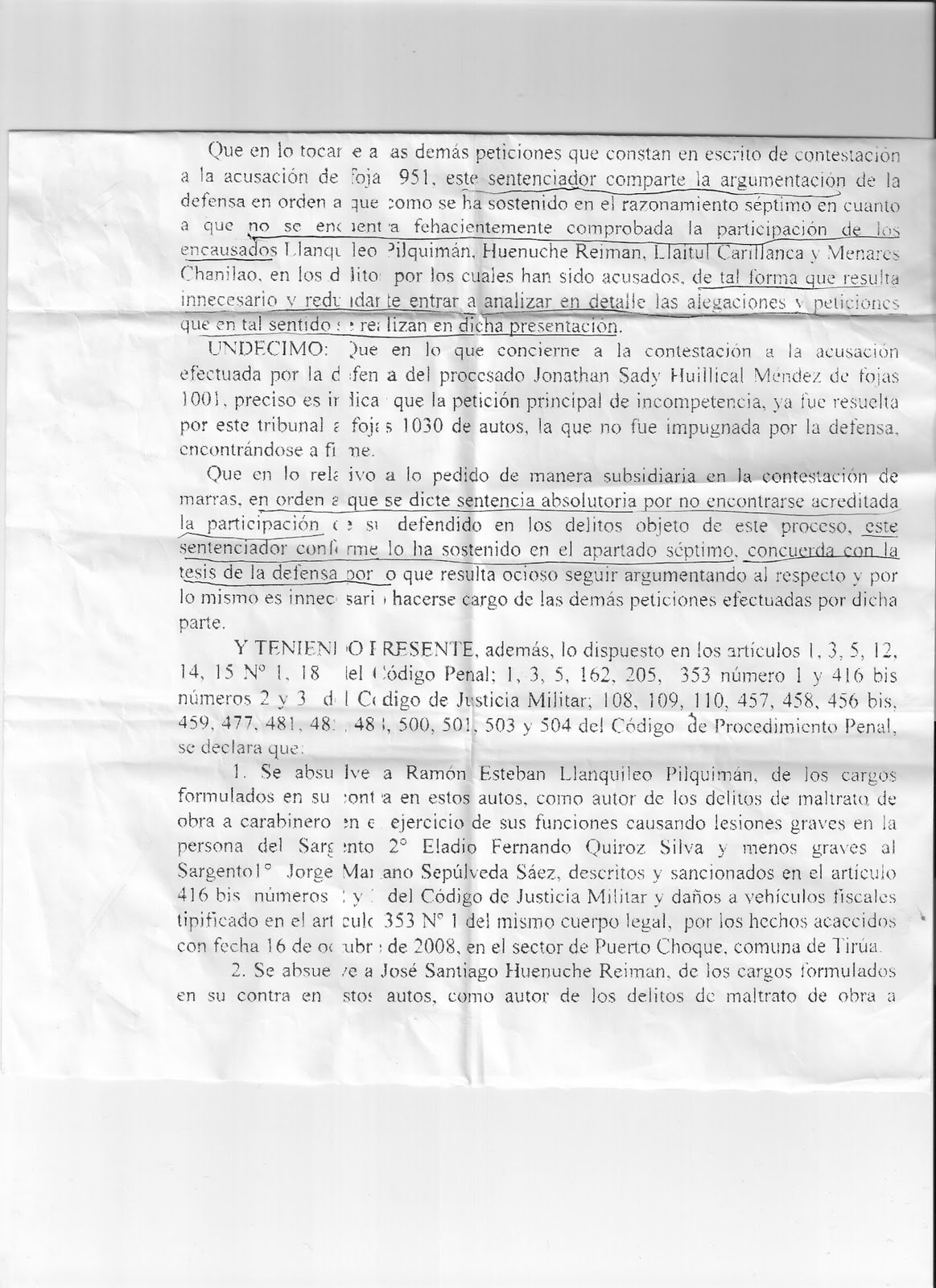 Presos politicos mapuche coordinadora arauco malleco sentencia juzgado militar de valdivia for Juzgado togado militar