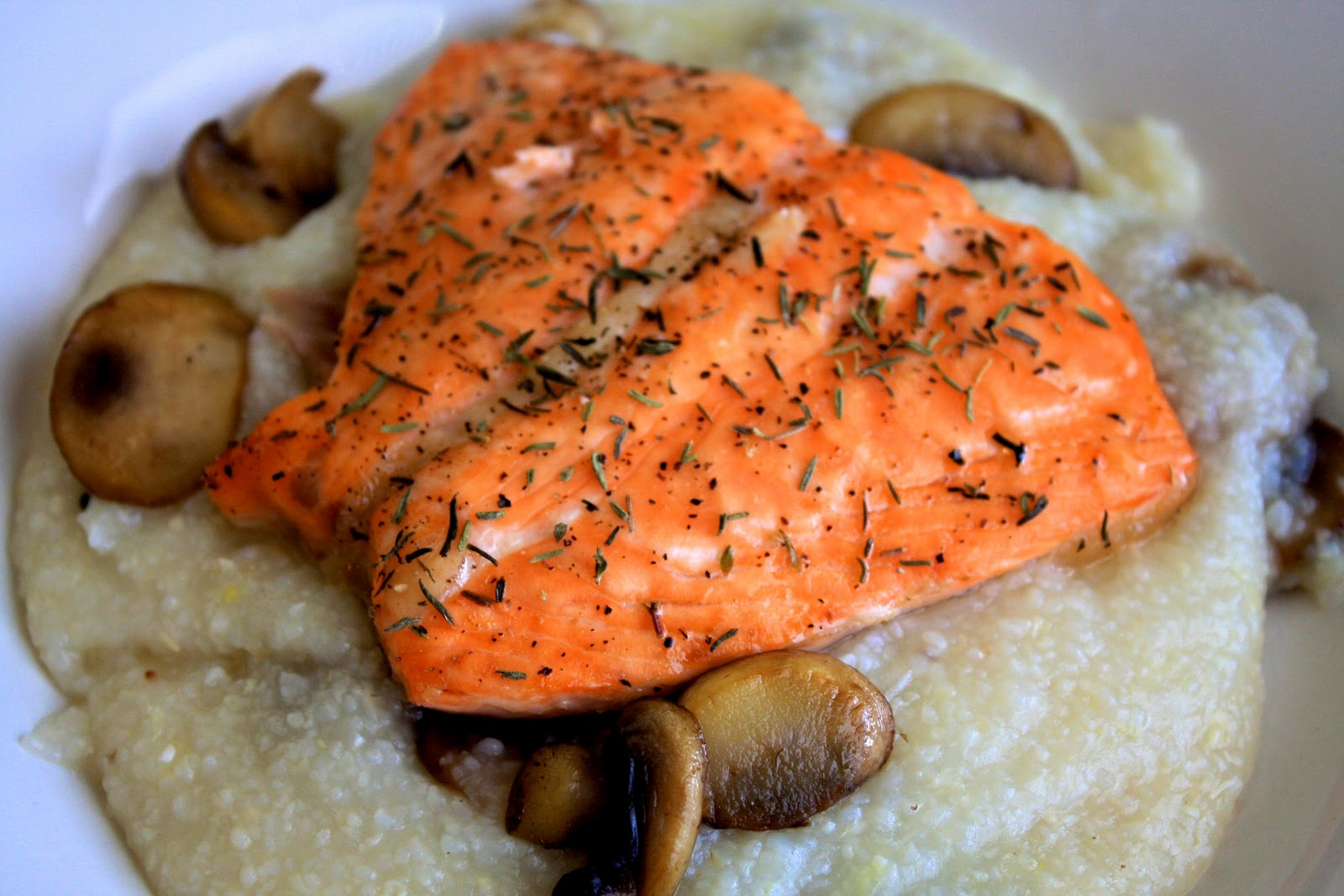 Broiled Salmon over Parmesan Cheese Grits | Our Family Eats