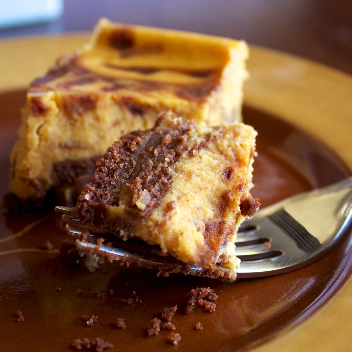 Chocolate Pumpkin Cheesecake Bars | Our Family Eats